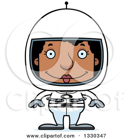Clipart of a Cartoon Happy Block Headed Black Woman Astronaut - Royalty Free Vector Illustration by Cory Thoman