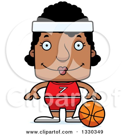 Clipart of a Cartoon Happy Block Headed Black Woman Basketball Player - Royalty Free Vector Illustration by Cory Thoman