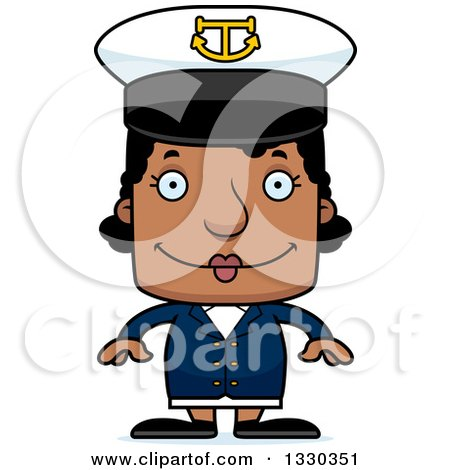 Clipart of a Cartoon Happy Block Headed Black Woman Boat Captain - Royalty Free Vector Illustration by Cory Thoman