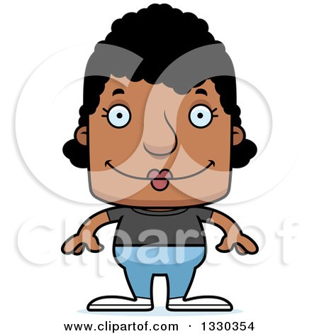 Clipart of a Cartoon Happy Block Headed Black Casual Woman - Royalty Free Vector Illustration by Cory Thoman