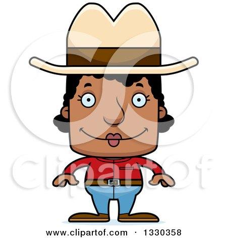Clipart of a Cartoon Happy Block Headed Black Woman Cowboy - Royalty Free Vector Illustration by Cory Thoman