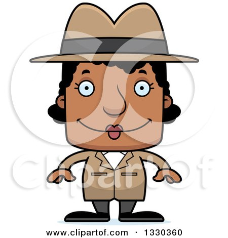 Clipart of a Cartoon Happy Block Headed Black Woman Detective - Royalty Free Vector Illustration by Cory Thoman