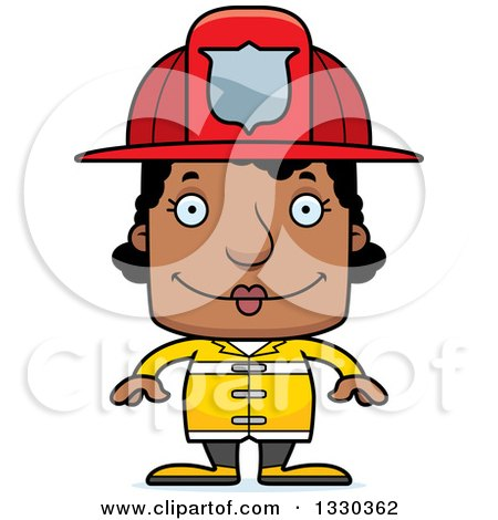 Clipart of a Cartoon Happy Block Headed Black Woman Firefighter - Royalty Free Vector Illustration by Cory Thoman