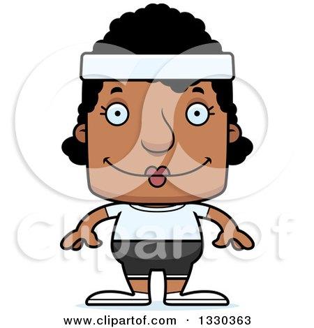 Clipart of a Cartoon Happy Block Headed Black Fitness Woman - Royalty Free Vector Illustration by Cory Thoman