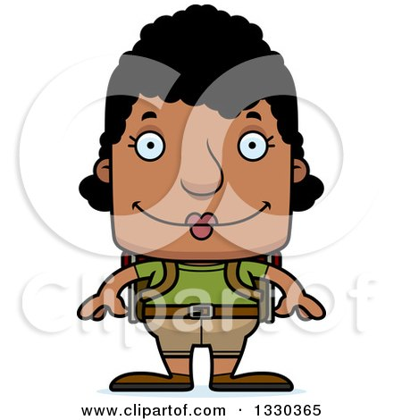 Clipart of a Cartoon Happy Block Headed Black Woman Hiker - Royalty Free Vector Illustration by Cory Thoman