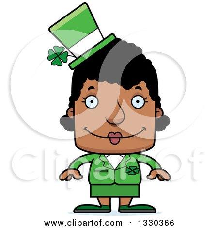 Clipart of a Cartoon Happy Block Headed Black St Patricks Day Woman - Royalty Free Vector Illustration by Cory Thoman
