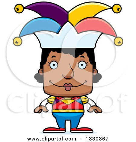 Clipart of a Cartoon Happy Block Headed Black Woman Jester - Royalty Free Vector Illustration by Cory Thoman