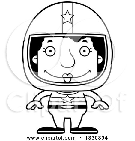Lineart Clipart of a Cartoon Black and White Happy Block Headed Black Woman Race Car Driver - Royalty Free Outline Vector Illustration by Cory Thoman