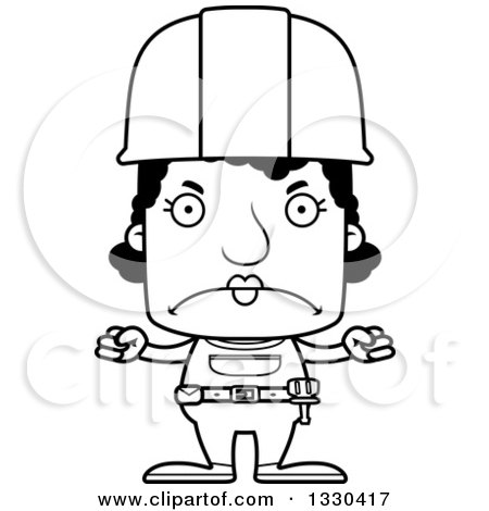 Lineart Clipart of a Cartoon Black and White Mad Block Headed Black Woman Construction Worker - Royalty Free Outline Vector Illustration by Cory Thoman