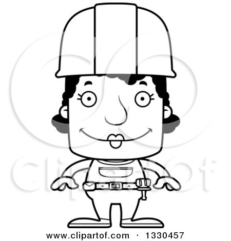 Lineart Clipart of a Cartoon Black and White Happy Block Headed Black Woman Construction Worker - Royalty Free Outline Vector Illustration by Cory Thoman
