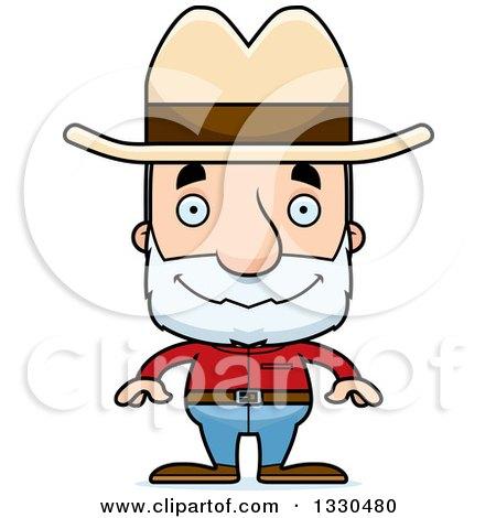 Clipart of a Cartoon Happy Block Headed White Senior Man Cowboy - Royalty Free Vector Illustration by Cory Thoman