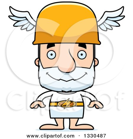 Clipart of a Cartoon Happy Block Headed White Senior Man Hermes - Royalty Free Vector Illustration by Cory Thoman