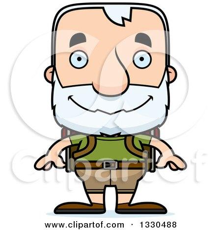 Clipart of a Cartoon Happy Block Headed White Senior Man Hiker - Royalty Free Vector Illustration by Cory Thoman