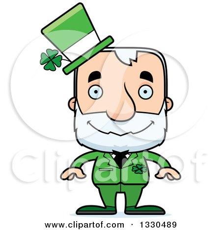 Clipart of a Cartoon Happy Block Headed White Senior Irish St Patricks Day Man - Royalty Free Vector Illustration by Cory Thoman