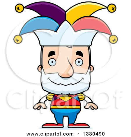Clipart of a Cartoon Happy Block Headed White Senior Man Jester - Royalty Free Vector Illustration by Cory Thoman