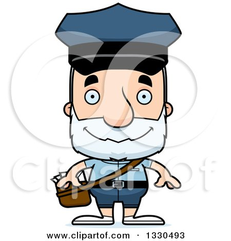 Clipart of a Cartoon Happy Block Headed White Senior Mail Man - Royalty Free Vector Illustration by Cory Thoman