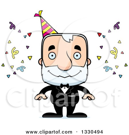 Clipart of a Cartoon Happy Block Headed White Senior Party Man - Royalty Free Vector Illustration by Cory Thoman