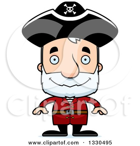 Clipart of a Cartoon Happy Block Headed White Senior Man Pirate - Royalty Free Vector Illustration by Cory Thoman
