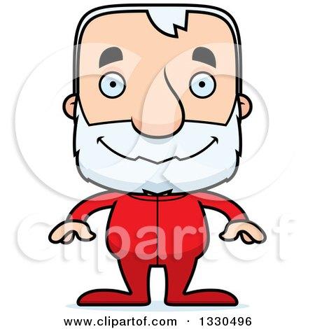 Clipart of a Cartoon Happy Block Headed White Senior Man in Pjs - Royalty Free Vector Illustration by Cory Thoman