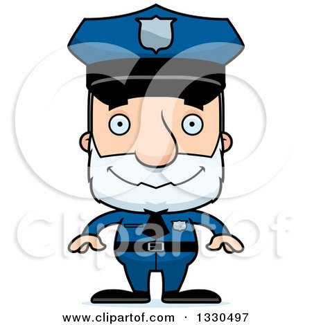 Clipart of a Cartoon Happy Block Headed White Senior Man Police Officer - Royalty Free Vector Illustration by Cory Thoman