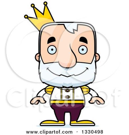 Clipart of a Cartoon Happy Block Headed White Senior Man Prince - Royalty Free Vector Illustration by Cory Thoman