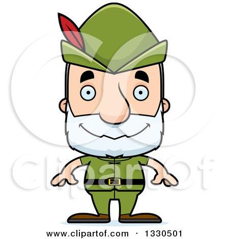Clipart of a Cartoon Happy Block Headed White Senior Robin Hood Man - Royalty Free Vector Illustration by Cory Thoman