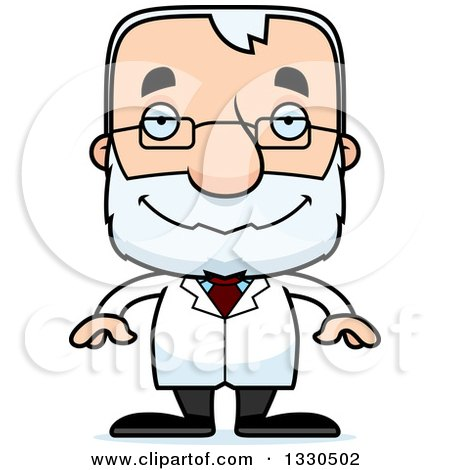 Clipart of a Cartoon Happy Block Headed White Senior Man Scientist - Royalty Free Vector Illustration by Cory Thoman