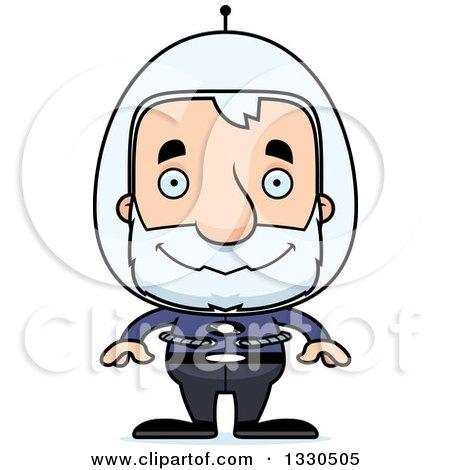 Clipart of a Cartoon Happy Block Headed Futuristic White Senior Space Man - Royalty Free Vector Illustration by Cory Thoman