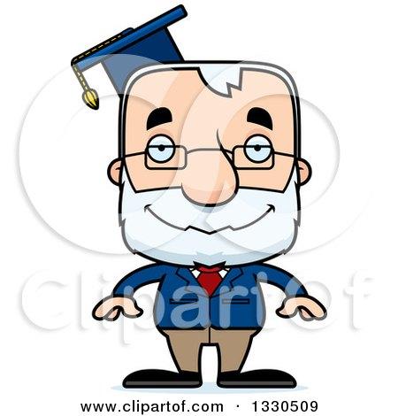 Clipart of a Cartoon Happy Block Headed White Senior Man Professor - Royalty Free Vector Illustration by Cory Thoman