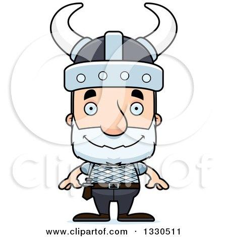 Clipart of a Cartoon Happy Block Headed White Senior Man Viking - Royalty Free Vector Illustration by Cory Thoman
