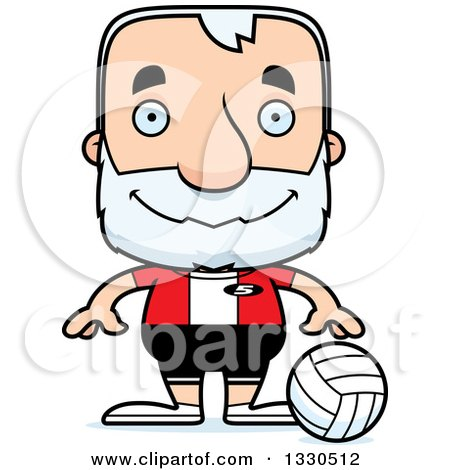 Clipart of a Cartoon Happy Block Headed White Senior Man Volleyball Player - Royalty Free Vector Illustration by Cory Thoman