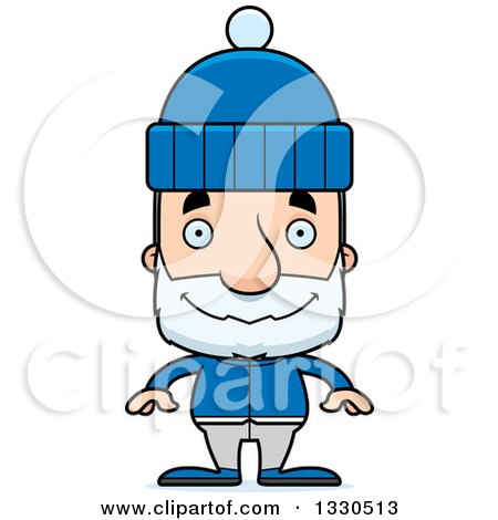Clipart of a Cartoon Happy Block Headed White Senior Man in Winter Clothes - Royalty Free Vector Illustration by Cory Thoman