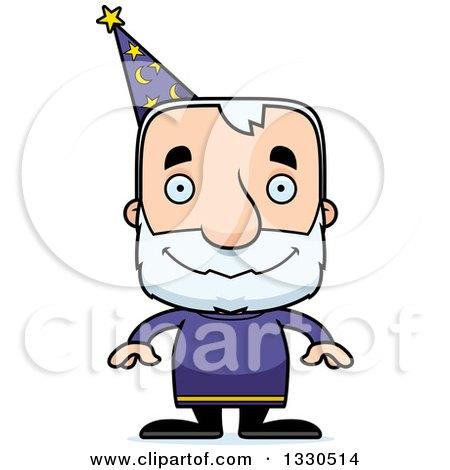 Clipart of a Cartoon Happy Block Headed White Senior Man Wizard - Royalty Free Vector Illustration by Cory Thoman