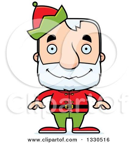 Clipart of a Cartoon Happy Block Headed White Senior Man Christmas Elf - Royalty Free Vector Illustration by Cory Thoman