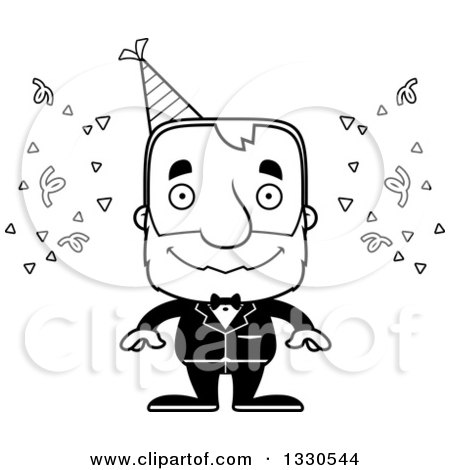 Lineart Clipart of a Cartoon Black and White Happy Block Headed White Senior Party Man - Royalty Free Outline Vector Illustration by Cory Thoman