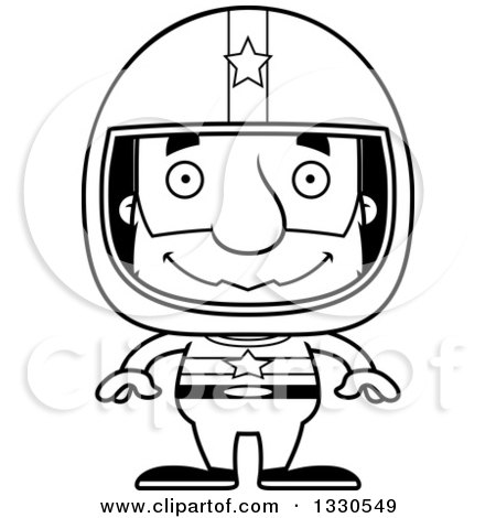 Lineart Clipart of a Cartoon Black and White Happy Block Headed White Senior Man Race Car Driver - Royalty Free Outline Vector Illustration by Cory Thoman