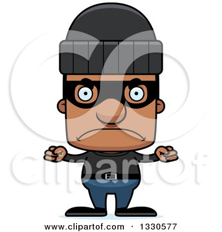 Clipart of a Cartoon Mad Block Headed Black Man Robber - Royalty Free Vector Illustration by Cory Thoman