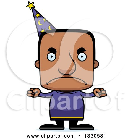 Clipart of a Cartoon Mad Block Headed Black Man Wizard - Royalty Free Vector Illustration by Cory Thoman