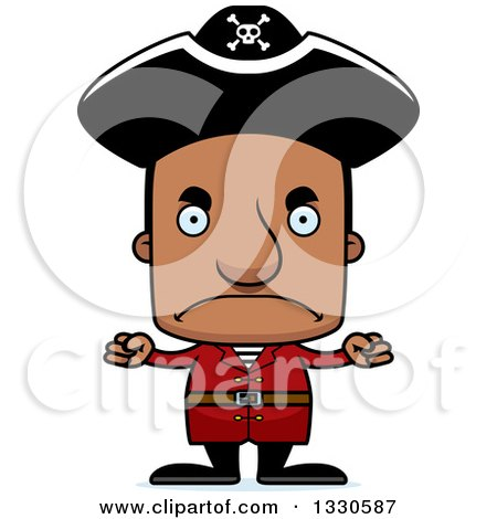 Clipart of a Cartoon Mad Block Headed Black Man Pirate - Royalty Free Vector Illustration by Cory Thoman