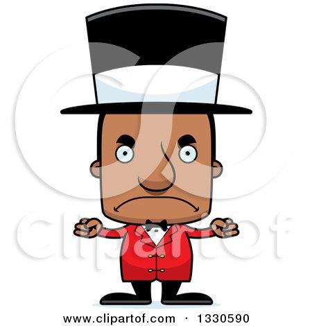Clipart of a Cartoon Mad Block Headed Black Man Circus Ringmaster - Royalty Free Vector Illustration by Cory Thoman