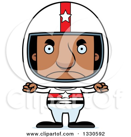 Clipart of a Cartoon Mad Block Headed Black Man Race Car Driver - Royalty Free Vector Illustration by Cory Thoman