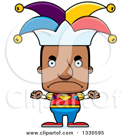 Clipart of a Cartoon Mad Block Headed Black Man Jester - Royalty Free Vector Illustration by Cory Thoman