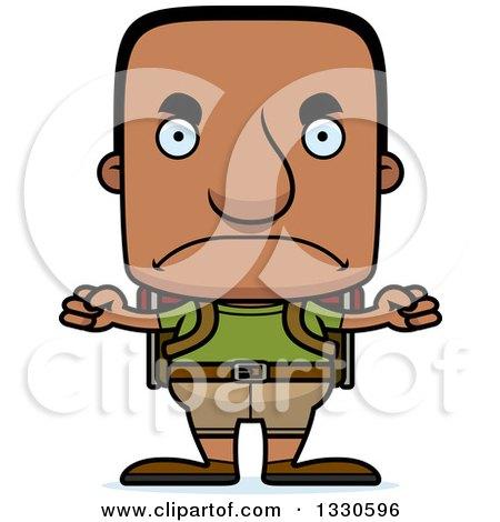 Clipart of a Cartoon Mad Block Headed Black Man Hiker - Royalty Free Vector Illustration by Cory Thoman