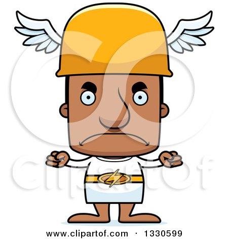 Clipart of a Cartoon Mad Block Headed Black Man Hermes - Royalty Free Vector Illustration by Cory Thoman