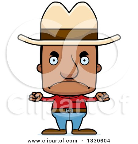 Clipart of a Cartoon Mad Block Headed Black Man Cowboy - Royalty Free Vector Illustration by Cory Thoman