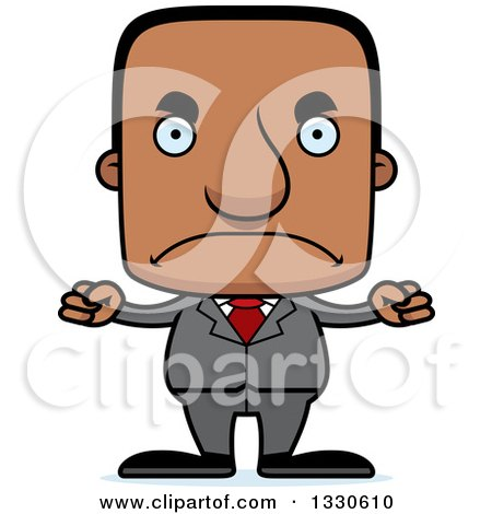 Clipart of a Cartoon Mad Block Headed Black Business Man - Royalty Free Vector Illustration by Cory Thoman