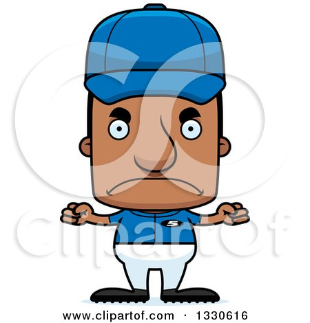 Clipart of a Cartoon Mad Block Headed Black Man Sports Coach - Royalty Free Vector Illustration by Cory Thoman