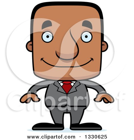 Clipart of a Cartoon Happy Block Headed Black Business Man - Royalty Free Vector Illustration by Cory Thoman