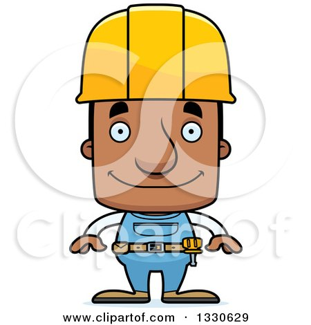 Clipart of a Cartoon Happy Block Headed Black Man Construction Worker - Royalty Free Vector Illustration by Cory Thoman