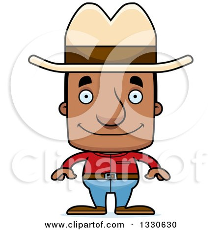Clipart of a Cartoon Happy Block Headed Black Man Cowboy - Royalty Free Vector Illustration by Cory Thoman